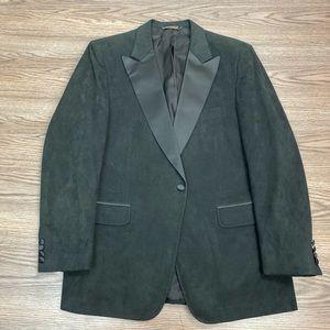 Halston Black Suede Leather Tuxedo Jacket 42R